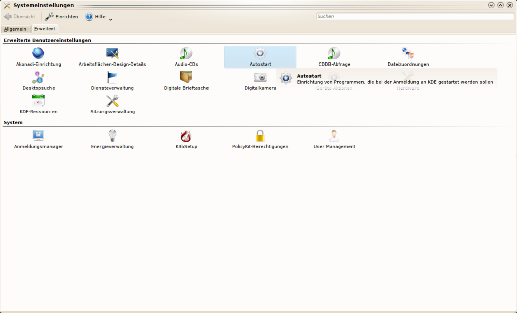 Screenshot: KDE-Systemeinstellungen