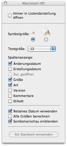 Darstellungsoptionen der Listdarstellung des MacOS X Finder