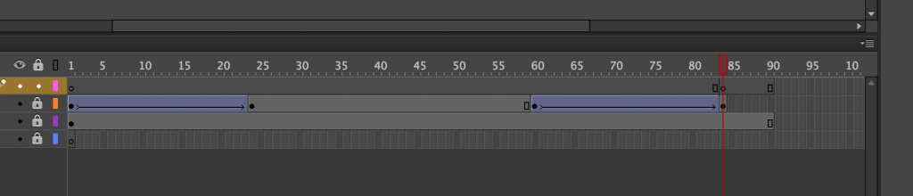 Screenshot: Schwacher Kontrast in der Timeline in Animate CC