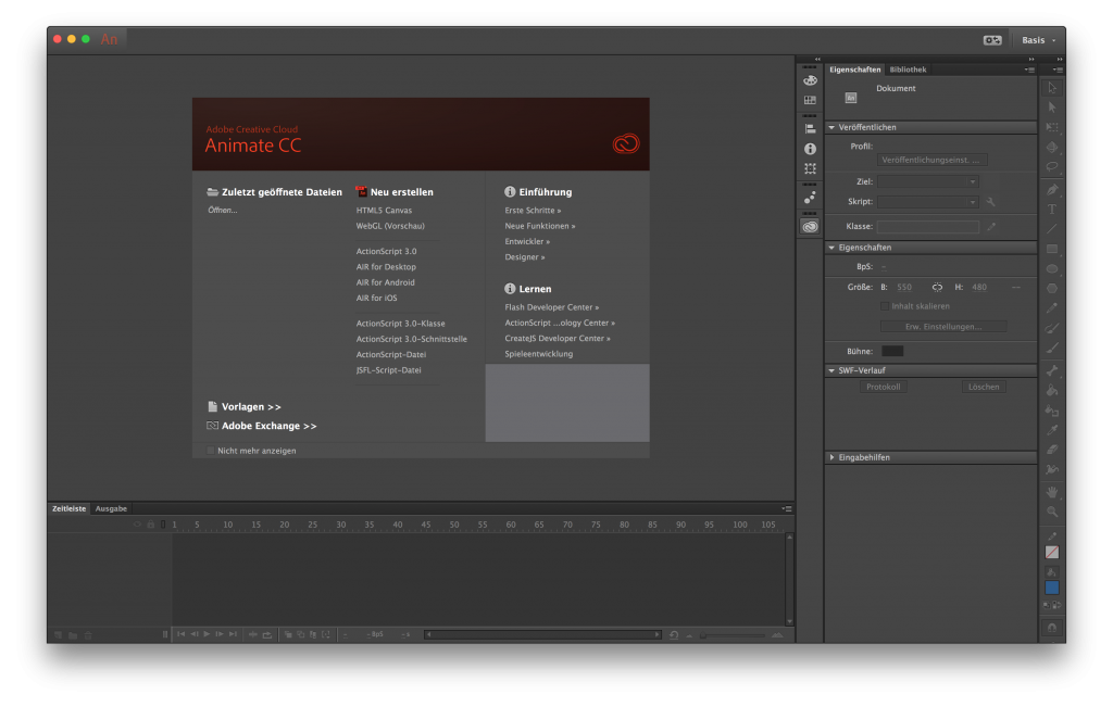 Screenshot: Hauptfenster von Animate CC