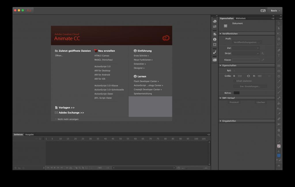 Screenshot: Hauptfenster von Animate CC