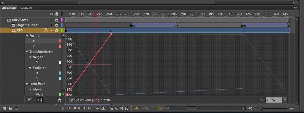 Screenshot: Bearbeiten des Bewegungstweens in der Timeline in Animate CC